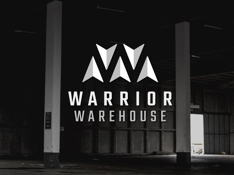 Warrior Warehouse w negative space wisconsin arrow ninja warrior gym logo