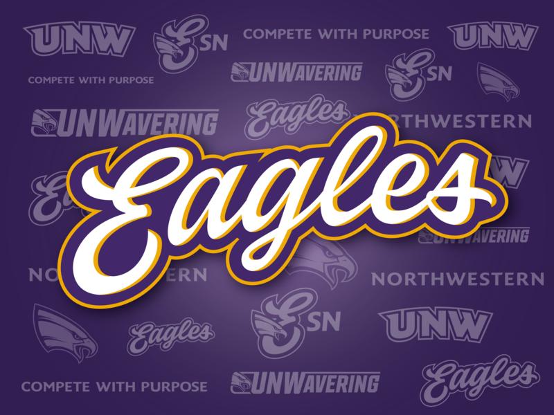 UNW Eagles university sports minnesota eagle purple wordmark logo wordmark script
