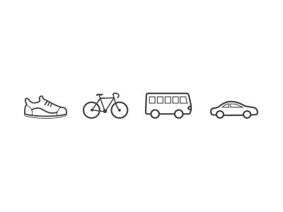Transportation Icons transportation walk bike bus car public transport outline icon