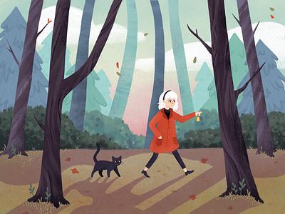 Sabrina & Salem salem illustration woods cat witch sabrina