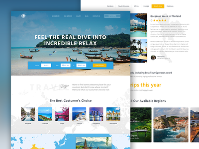 Tour Operator Home Page relax adventure holiday vacation tour trip journey travel ui ux