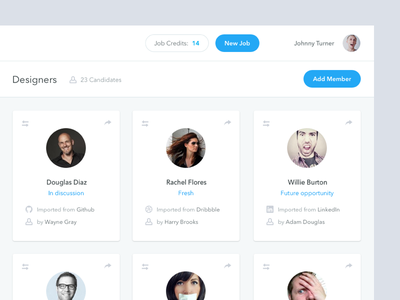 Talent Pool users groups folders ui interface ux job jobs designers members recruiting