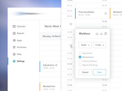 Manage Your Workhours notifications tooltip popup modal schedule calendar workhours work hour workhour
