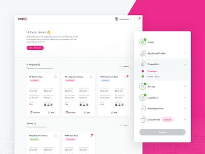 Loan Portal sketch interface design clean application card step ux ui dashboard portal loan