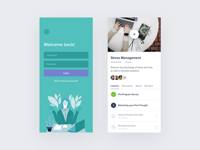 Courses App 📚 interface sign up courses video ios mobile ux ui lessons login app course