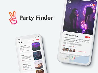 Social events app clientwork debut first shot flat minimal app ux branding ui logo