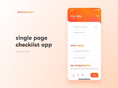 Single page checklist exploration single page to-do list exploration ux ui vector design minimal flat app