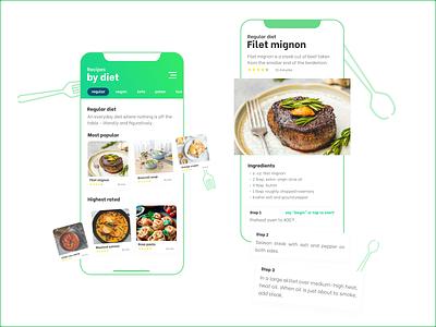 Diet based recipe App recipes app recipes eating green voice recipe figma flat exploration ux ui app