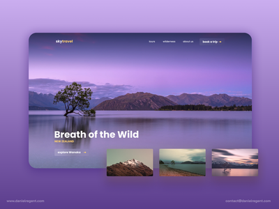 Minmalist travel landing page travel agency nature minimalist landing page photography afternoon purple new zealand travel exploration