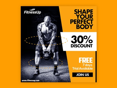 Fitness Banner Design | Razikul Designs social media templates branding social media marketing fitness center fitness club banner discount banner photoshop banner design google ads banner fitness banner