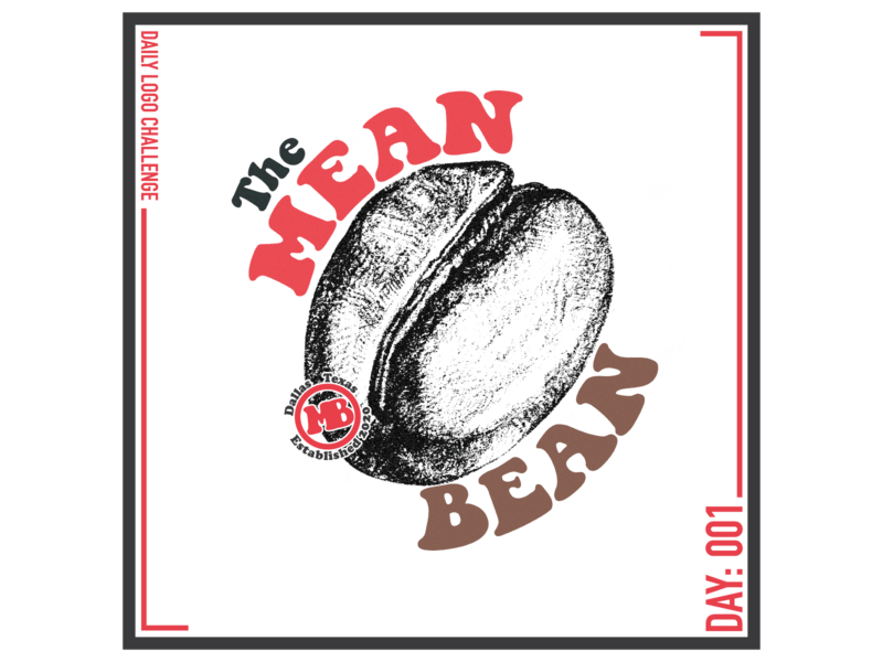 Daily Logo Challenge 001 - The Mean Bean typography design logo