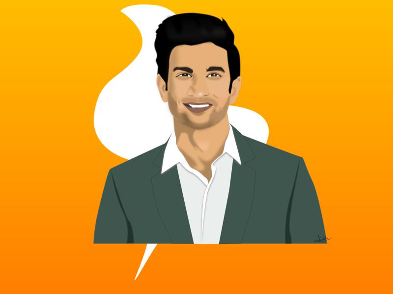 Sushant Singh Rajput- Illustration drawing actor bollywood illustration art vector artwork art ui design illustration