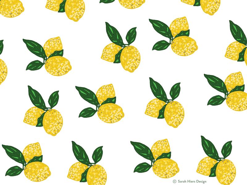 Sarah Hiers Design Lemon Pattern freelance art freelance design custom drawing adobe draw custom art artist illustration lemon logo lemon art lemon pattern lemons lemon pattern