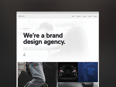 Basic Site agency web design simple clean typography icons basic interactive thumbnails brand flat