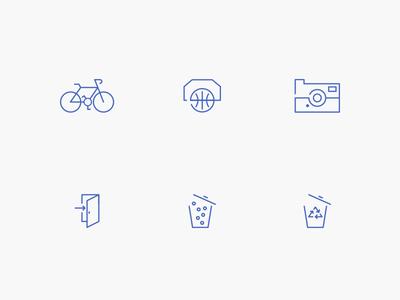 Simple Icon Set icons simple line design cool bike camera door basketball brand travel