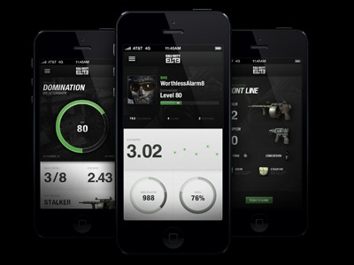 Cod Elite 3.0 app design texture icons depth iphone charts 5 black numbers type game green graph stats dot weapons guns pie circle
