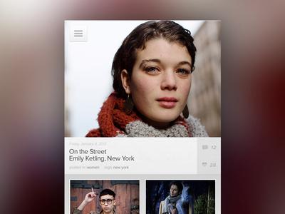 Social Lookbook (quick wip) 2 app iphone type white blur simple cool interactive design images clean menu fashion ui ux navigation