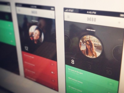 New App app design logo profile circle icons numbers iphone 5 cool green red pink bars flat basic agency