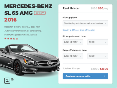Work in progress on the car rental UI elements car rental rental automotive cardojo kit ui car