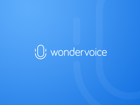 Wondervoice Logo logo mark voice blue icon smiling microphone mic symbol