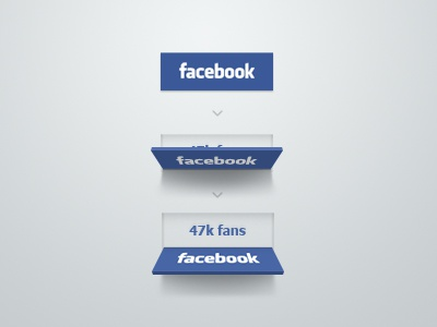 Facebook button concept facebook share like button blue flip reveal fans social deiner ui fold