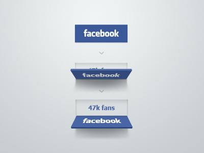 Facebook button concept facebook share like button blue flip reveal fans social deiner ui fold