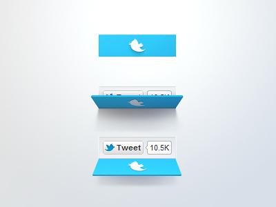 Twitter Button Concept deiner twitter tweet share like button blue flip reveal fans social concept soft blue ui fold