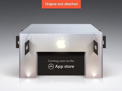 Coming soon to the App store icon deiner app icon photoshop realistic metal aluminium apple flags building lights black white grey silver app store