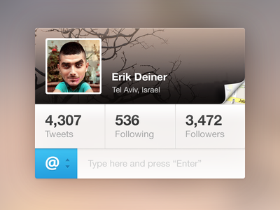 Twitter tweeter deiner twitter widget retina stats map cover avatar profile curl button following followers tweets tweet blue cover image profile pic page curl ui psd freebie download