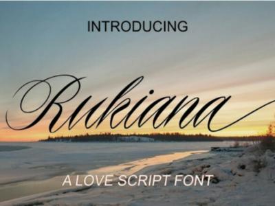 Font Rukiana script font script bundle