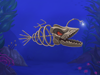 Skeletonfish with light