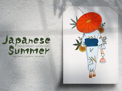 Japanese Summer Illustrations & Elements japanese summer vector design illustration
