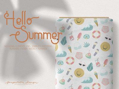 Hello Summer Elements & Pattern pastel clipart pattern vector summer