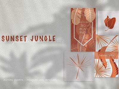 Terracotta Jungle Elements & Social Media Template social media template pattern elements illustration vector jungle tropical terracotta