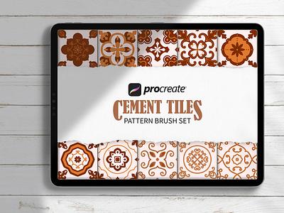 Cement Tile Pattern Brush Set Procreate background procreate brushes pattern brush procreate
