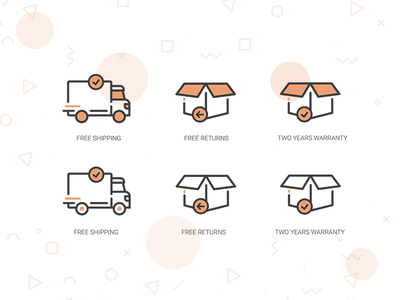 Shipping icons warranty return shipping ui web website flat illustration outline design icon