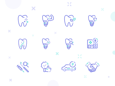 Icon Dent simple clear hands like clinic tooth dental illustration icon set icons