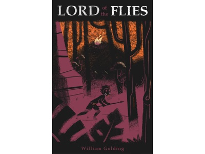 Lord of the Flies texture digital painting illustration book forest trees character fire book cover lord of the flies