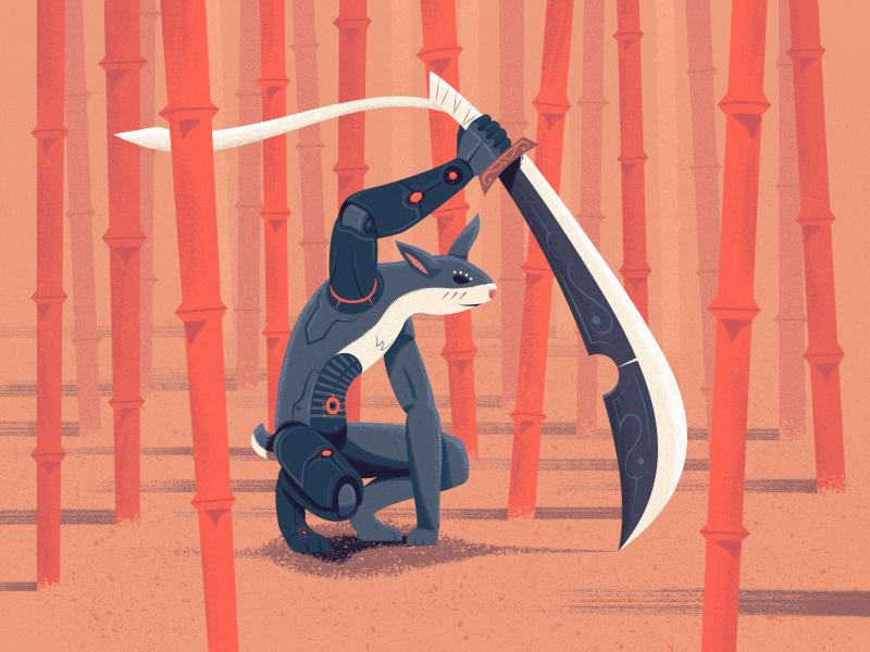 Cyborg Humanoid Rabbit tech bamboo forest sword cyborg humanoid rabbit rabbit