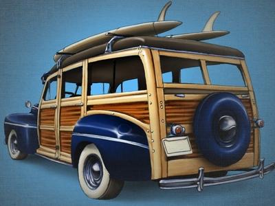 A Woody 5 (Layered PSD) Illustration woody layered psd car surf wagon surf