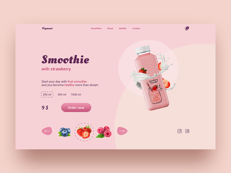 Strawberry smoothie concept strawberry smoothie web design branding illustration ui ux concept
