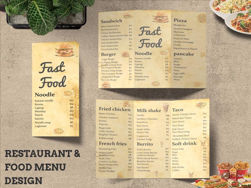 eyecatching restaurant menu, fast food, foo bar, drin menu, flye food and drink menu flyer menu card menu bar restaurant menu design food menu menu design