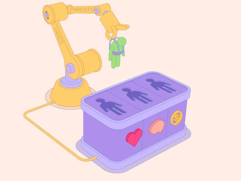 Parents hands robot metaphor money brain heart illustration cartoon vector