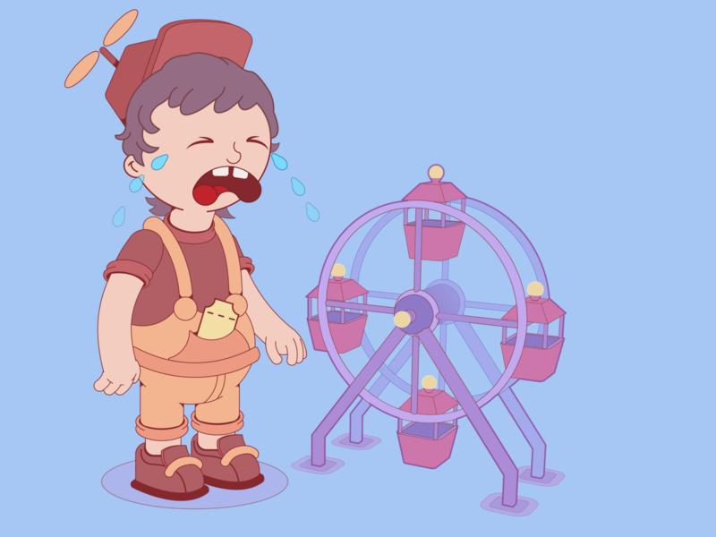 REALITY LAND kid ferris wheel illustration characterdesign cartoon vector