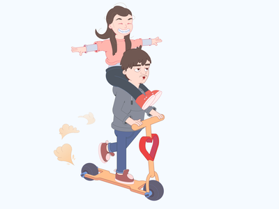 Love cartoon character scooter lovers cartoon