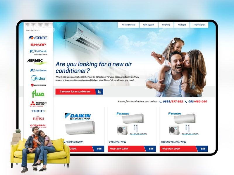 Air Conditioning Ecommerce heating service online store online store commerce online shop conditioner creative website ui ux home fan design clean air conditioner ecommerce
