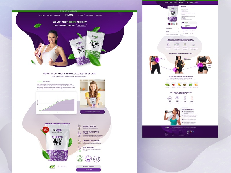 Fit body Ecommerce webdesignagency webdesign websitedesigner web development company branding ux slim organic detox tea body fit healty online shop brand design online store brand identity ecommerce design creative ecommerce