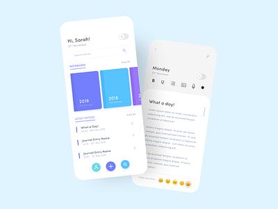 Journalling App Concept xd adobe xd xddailychallenge app design diary journal