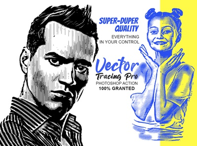 Vector Tracing Pro Photoshop action actions action photoshop action artistic drawing draw pencil sketch photo to vector vintage convert raster vectorizer stencil maker convert vector trace photos image trace line art vector tracing tracing