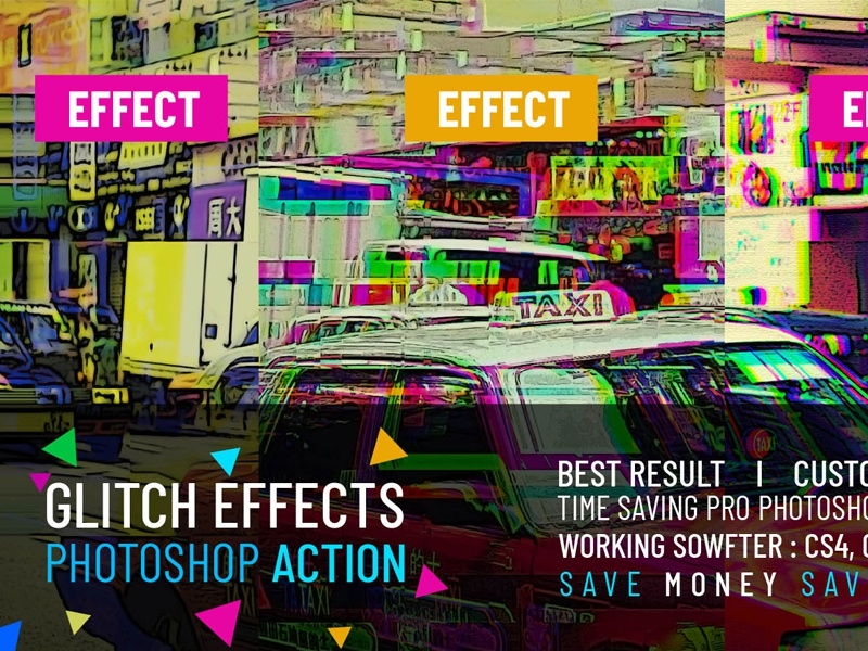 Free Glitch Effects Photoshop Action by Mri Khokon on Dribbble